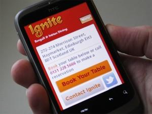 Mobile website for Ignite Restaurant